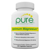 """Optimum Magnesium - 240 """"Delayed Release"""" Vcaps   250mg Elemental (Traacs® Magnesium Lysyl Glycinate Chelate, Di-magnesium Malate) of 830mg Di-magnesium Malate   Formulated for Enhanced Absorption"""