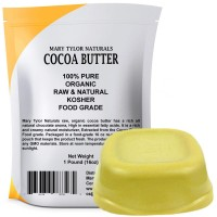 Organic Cocoa Butter, Large 1 lb Bar by Mary Tylor Naturals Raw Unrefined, Non-Deodorized, Rich In Antioxidants Great For DIY Recipes, Lip Balms, Lotions, Creams, Stretch Marks