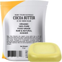 Organic Cocoa Butter Large 8 oz Mini Bar by Mary Tylor Naturals Raw Unrefined, Non-Deodorized, Rich In Antioxidants Great For DIY Recipes, Lip Balms, Lotions, Creams, Stretch Marks