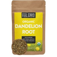 Organic Dandelion Root - Cut & Sifted - 4oz Resealable Bag - 100% Raw From Croatia - by Feel Good Organics