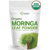 Organic Moringa Oleifera Leaf Powder, 2 Pounds (32 Ounce), Sun-Dried, Natural Energy Booster for Green Drinks & Smoothies, Non-Irradiated, Non-Contaminated, Non-GMO and Vegan Friendly