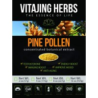 Organic Pine Pollen Powder Extract (8oz / 227gm) Raw Form, Pure Wild Harvested, 99 Percent Broken Cell Wall for Optimal Absorption and Potency