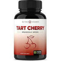Organic Tart Cherry Concentrate - 1000mg Premium Supplement - Uric Acid Cleanse - Cherry Juice Extract Powder Pills for Inflammation, Pain Relief, Muscle Recovery & Sleep - 60 Vegan Capsules
