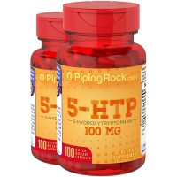 Piping Rock 5-HTP 100 mg 2 Bottles x 100 Capsules 5-Hydroxytryptophan Dietary Supplement