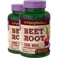 Piping Rock Beet Root 500 mg 2 Bottles z 120 Quick Release Capsules Herbal Supplement