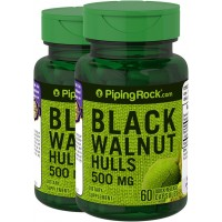 Piping Rock Black Walnut Hulls 500 mg 2 Bottles x 60 Quick Release Capsules Dietary Supplement
