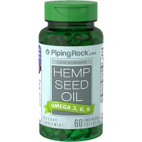 Piping Rock Cold-Pressed Hemp Seed Oil 700 mg 60 Quick Release Softgels Omega 3, 6, 9 Dietary Supplement