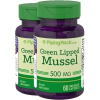 Piping Rock Green Lipped Mussel 500 mg 2 Bottles x 60 Capsules Freeze Dried from New Zealand