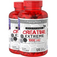 Piping Rock HPLC Pure Creatine Monohydrate 1000 mg 2 Bottles x 120 Quick Release Capsules Dietary Supplement