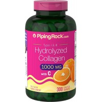 Piping Rock Hydrolyzed Collagen 1000 mg Type I & III 300 Caplets with Vitamin C Dietary Supplement