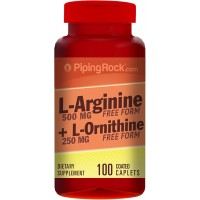 Piping Rock L-Arginine & Ornithine 500 / 250 mg 100 Coated Tablets