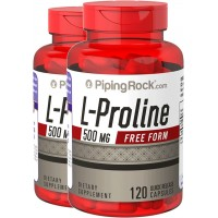 Piping Rock L-Proline 500 mg Free Form 2 Bottles x 120 Quick Release Capsules Dietary Supplement