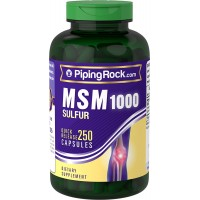 Piping Rock MSM 1000 + Sulfur 1000 mg 250 Quick Release Capsules Dietary Supplement