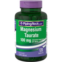 Piping Rock Magnesium Taurate 100 mg Elemental Magnesium Per Tablet 120 Tablets Dietary Supplement