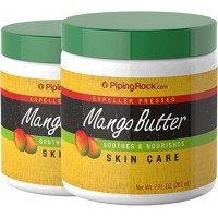 Piping Rock Mango Butter 2 Jars x 7 fl oz (207 mL) Expeller Pressed Soothes & Nourishes Skin Care