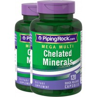 Piping Rock Mega Multivitamin Chelated Minerals 2 Bottles x 120 Capsules Dietary Supplement