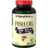 Piping Rock Omega-3 Fish Oil 1200 mg Per Serving 240 Quick Release Softgels Lemon Flavor Purified To Eliminate Mercury