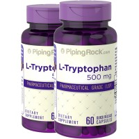 Piping Rock Pharmaceutical Grade L-Tryptophan 500 mg 2 Bottles x 60 Capsules Dietary Supplement
