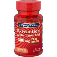 Piping Rock R-Fraction Alpha Lipoic Acid plus Biotin Optimizer 300 mg 30 Quick Release Capsules Dietary Supplement