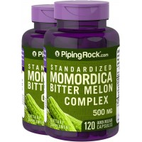 Piping Rock Standardized Momordica Bitter Melon Complex 500 mg 2 Bottles x 120 Capsules