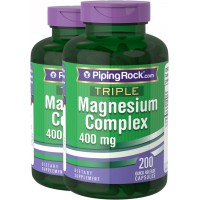 Piping Rock Triple Magnesium Complex 400 mg 2 Bottles x 200 Capsules Dietary Supplement