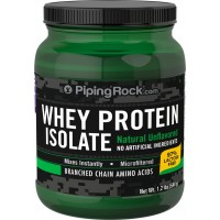 Piping Rock Whey Protein Isolate Powder Natural Unflavored 1.2 lb. (544 g) Bottle 97% Lactose Free Microfiltered