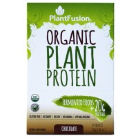 PlantFusion Organic Protein & Fermented Foods Powder, Chocolate, No Soy or Rice, 20g Protein, 1.06oz Packet, 12 Count