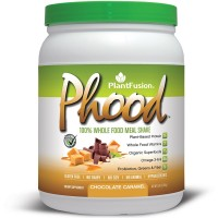 PlantFusion Phood Meal Replacement Protein Powder, Chocolate Caramel, No Soy or Rice, 10 servings, 18g Protein, 15.9oz Tub