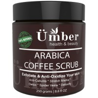 Premium 100% Natural Arabica Coffee Body Scrub with Organic Coffee, Shea Butter, Coconut Oil and Dead Sea Salt – Anti Cellulite, Stretch Marks, Spider Vain Treatment by Umber NYC (8.8 oz.)