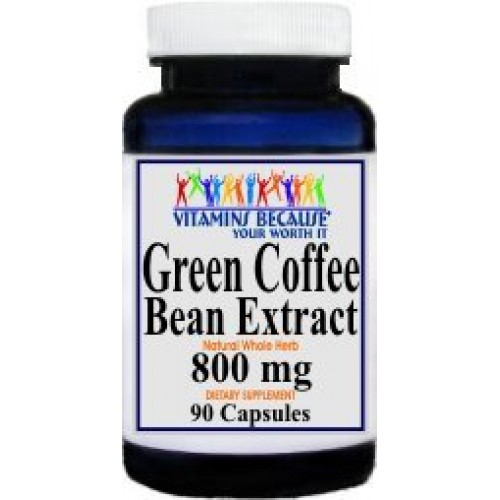 Pure 100% Natural Green Coffee Bean Extract 800 mg with 50% Chlorogenic Acid by Vitamins Because Your Worth It