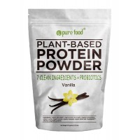 Pure Food: Plant Based Protein Powder with Probiotics | Organic, Vegan, Vegetarian, Whole Superfood Nutritional Supplement with 100% All Natural, Real Food Ingredients | Vanilla Bean, 512 Gram Pouch
