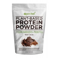 Pure Food: The Healthiest Plant Based Protein Powder with Probiotics | Organic, Clean, All Natural, Vegan, Vegetarian, Whole Superfood Nutritional Supplement | Raw Cacao (Chocolate), 512 Gram Pouch