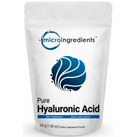Pure Hyaluronic Acid Powder, Making Anti-Aging Serum, Supporting Internal Hydration & Joint Health, 30 Grams. Non-Irradiated, Non-Contaminated, Non-GMO and Vegan Friendly
