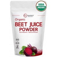 Pure Organic Beet Juice Powder, 2 Pounds (32 Ounce), Natural Nitrates for Energy Booster, Best Super-Foods, Non-Irradiated, Non-Contaminated, Non-GMO and Vegan Friendly.
