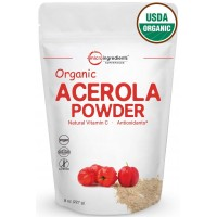 Pure USDA Organic Acerola Cherries Extract, Organic Vitamin C Powder, 8 Ounce, (Natural Vitamin C Powder). Powerful Immune System and Energy Booster, Non-Irradiated, Non-GMO and Vegan Friendly.