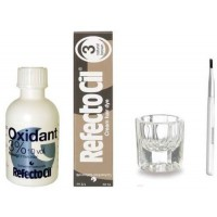 REFECTOCIL COLOR KIT - Natural Brown Cream Hair Dye + Liquid Oxidant 3% 1.7oz + Mixing Brush + Mixing Dish