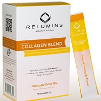 Relumins ULTRA Marine Collagen Types I & III – Highly Bio-Available - 300% More effective Than Beef Collagen – GLUTEN & GELATIN FREE – NON GMO – With Glucosamine & Hyaluronic Acid (Pineapple)