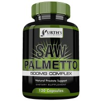 Saw Palmetto Supplement For Prostate Health -120 Capsules - Reduce Frequent Urination - Helps Incontinence & Blocks DHT That Causes Hair Loss - Natural Berries Powder & Extract - NON GMO - 500mg