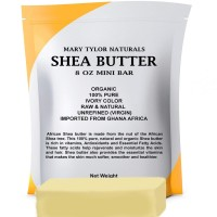 Shea Butter 8 oz Bar by Mary Tylor Naturals, Premium Grade Raw Unrefined Shea Butter, Ivory From Ghana Africa, Amazing Skin Nourishment, Great for Eczema, Stretch Marks and Body Butters