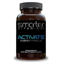 SmarterVitamins: Activate™ Natural Herbs + Nutrients for Brain Function Support, Helps Promote Memory, Focus, Clarity, Mood and Alertness - 90 Plant Based Pills