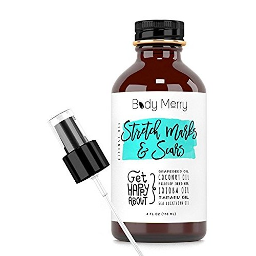 Stretch Marks & Scars Defense Oil - 6 Pure Oils w/o fillers - Fractionated Coconut Oil + Rose Hip + Tamanu + Jojoba + Grapeseed + Sea Buckthorn for Marks, Scars, Cellulite & dry Hands, Cuticles, Feet