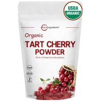 Sustainably US Grown, Organic Tart Cherry Juice Powder, Powerfully Enhances Joint Comfort, Pain Relief & Uric Acid Cleanser. 4 Ounce. Non-GMO and Vegan Friendly