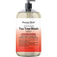 Tea Tree Body Wash Extra Strength Anti Fungal 10% - For Body Odor, Foot and Toenails - Helps Wash Away Dirt, Athletes Foot, Eczema, Ringworm, Jock itch, Acne 9 OZ By Buena Skin