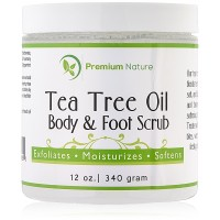 Tea Tree Oil Body Scrub - 12 oz 100% Natural Body & Foot Scrub - Best Antibacterial Antifungal Exfoliator with Dead Sea Salt and Essential Oils - Fungal Treatment Athletes Foot Premium Nature