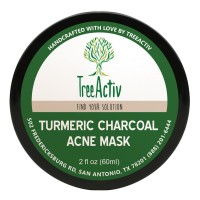 TreeActiv Turmeric Charcoal Acne Mask | Natural Treatment for Facial Blackheads, Severe and Cystic Acne | Clear Skin and Face | Exfoliating | 2 oz