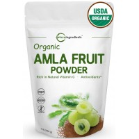 USDA Organic Amla Powder (Amalaki),1 Pound, Powerful Immune System and Energy Booster, 100% Raw Superfoods from India, Non-Irradiated, Non-Contaminated, Non-GMO and Vegan Friendly.