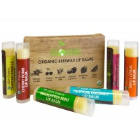 USDA Organic Lip Balm by Sky Organics – 6 Pack Assorted Flavors –- With Beeswax, Coconut Oil, Vitamin E. Best Lip Plumper Chapstick for Dry Lips- For Adults and Kids Lip Repair. Made In USA