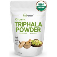 USDA Organic Triphala Powder, 8 Ounce - Powerfully Supports Healthy Digestion and Promotes Absorption. Balancing Formula for Detoxification & Rejuvenation. Non-GMO and Vegan Friendly.