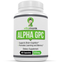 VitaMonk™ Alpha GPC Capsules - NO Artificial Fillers - The #1 Bioavailable Choline Supplement To Support Brain Cognition - 60 Alpha-GPC 325mg Capsules