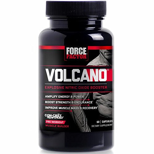 VolcaNO Pre-Workout Nitric Oxide Booster with Creatine, Boost Nitric Oxide, Energy, and Strength, Build Muscle, Better Pump, Force Factor, 60 Count